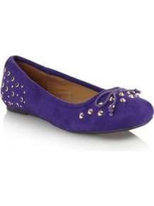 Purple Suedette Studded Pumps - predominant colour: navy; occasions: casual, evening, work; material: suede; heel height: flat; embellishment: studs; toe: round toe; style: ballerinas / pumps; finish: plain; pattern: plain