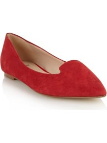 Red Suede Pointed Toe Pumps - predominant colour: true red; occasions: casual, evening, work; material: suede; heel height: flat; toe: pointed toe; style: loafers; finish: plain; pattern: plain