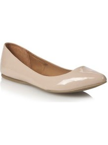 Beige Janille Pointed Toe Pumps - predominant colour: stone; occasions: casual, evening, work; material: faux leather; heel height: flat; toe: pointed toe; style: ballerinas / pumps; finish: patent; pattern: plain
