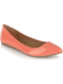 Coral Janille Pointed Toe Pumps - predominant colour: coral; occasions: casual, evening, work; material: faux leather; heel height: flat; toe: pointed toe; style: ballerinas / pumps; trends: fluorescent; finish: patent; pattern: plain