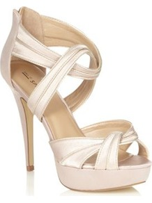 Light Pink Textured Strapped High Heeled Sandals - predominant colour: blush; occasions: evening, occasion; material: faux leather; heel height: high; embellishment: zips; ankle detail: ankle strap; heel: platform; toe: open toe/peeptoe; style: strappy; trends: metallics; finish: metallic; pattern: plain