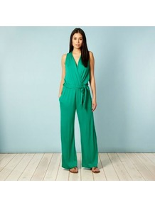 Green Jersey Jumpsuit - length: standard; neckline: low v-neck; fit: loose; pattern: plain; sleeve style: sleeveless; waist detail: belted waist/tie at waist/drawstring; predominant colour: emerald green; occasions: casual, evening; fibres: viscose/rayon - stretch; style: jumpsuit; pattern type: fabric; texture group: jersey - stretchy/drapey
