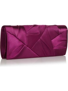 Designer Purple Origami Flap Clutch Bag - predominant colour: purple; occasions: evening, occasion; type of pattern: small; style: clutch; length: hand carry; size: standard; material: satin; embellishment: pleated; pattern: plain; finish: plain