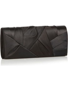 Designer Black Origami Flap Clutch Bag - predominant colour: black; occasions: evening, occasion; type of pattern: standard; style: clutch; length: hand carry; size: standard; material: satin; embellishment: pleated; pattern: plain; finish: plain