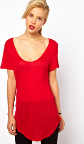 Fine Knit Longline Tee - pattern: plain; length: below the bottom; style: t-shirt; predominant colour: true red; occasions: casual, evening, work; neckline: scoop; fibres: polyester/polyamide - 100%; fit: body skimming; sleeve length: short sleeve; sleeve style: standard; pattern type: fabric; pattern size: standard; texture group: jersey - stretchy/drapey