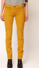 Livier Coloured Skinny Jean - style: skinny leg; length: standard; pattern: plain; pocket detail: small back pockets, pockets at the sides, traditional 5 pocket; waist: mid/regular rise; predominant colour: yellow; occasions: casual, evening, work, holiday; fibres: cotton - stretch; texture group: denim; trends: fluorescent; pattern type: fabric; pattern size: standard