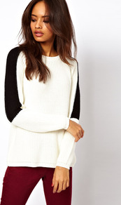 Chunky Jumper With Cross Back & Contrast Sleeve - neckline: round neck; style: standard; shoulder detail: contrast pattern/fabric at shoulder; predominant colour: white; occasions: casual; length: standard; fibres: acrylic - 100%; fit: slim fit; back detail: keyhole/peephole detail at back; sleeve length: long sleeve; sleeve style: standard; texture group: knits/crochet; pattern type: knitted - other; pattern size: small & light; pattern: colourblock