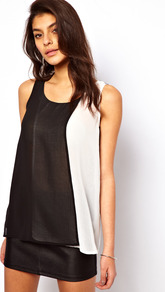 Vest With Double Layer Panels - neckline: round neck; sleeve style: standard vest straps/shoulder straps; style: vest top; predominant colour: black; occasions: casual, evening; length: standard; fibres: polyester/polyamide - 100%; fit: loose; sleeve length: sleeveless; texture group: sheer fabrics/chiffon/organza etc.; trends: sporty redux; pattern type: fabric; pattern size: big &amp; light; pattern: colourblock