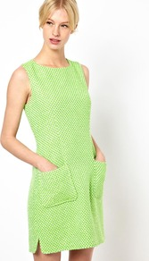 Patch Pocket Dress In Fleuro Tweed - style: shift; length: mid thigh; neckline: round neck; sleeve style: sleeveless; hip detail: front pockets at hip; pattern: herringbone/tweed; predominant colour: lime; occasions: casual, evening, work; fit: body skimming; fibres: cotton - mix; sleeve length: sleeveless; trends: glamorous day shifts, fluorescent; pattern type: fabric; pattern size: standard; texture group: other - light to midweight