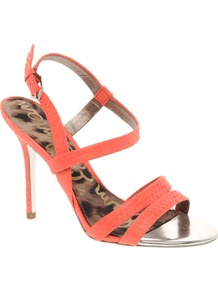 Abbott Neon Strappy Sandals - predominant colour: coral; occasions: evening, occasion, holiday; material: leather; heel height: high; ankle detail: ankle strap; heel: stiletto; toe: open toe/peeptoe; style: strappy; trends: fluorescent; finish: plain; pattern: plain