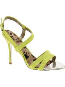 Abbott Lime Strappy Sandals - predominant colour: lime; occasions: evening, occasion, holiday; material: leather; heel height: high; ankle detail: ankle strap; heel: stiletto; toe: open toe/peeptoe; style: strappy; trends: fluorescent; finish: plain; pattern: plain