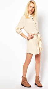 Shorts - pattern: plain; style: shorts; waist detail: belted waist/tie at waist/drawstring; length: mid thigh shorts; waist: mid/regular rise; predominant colour: stone; occasions: casual, evening, work; fibres: polyester/polyamide - 100%; jeans & bottoms detail: turn ups; texture group: silky - light; fit: baggy; pattern type: fabric; pattern size: standard