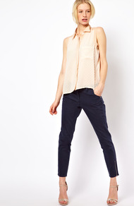 Cropped Cigarette Jeans - style: skinny leg; pattern: plain; pocket detail: pockets at the sides, traditional 5 pocket; waist: mid/regular rise; predominant colour: navy; occasions: casual, evening, work; length: ankle length; fibres: cotton - stretch; jeans detail: dark wash; texture group: denim; pattern type: fabric; pattern size: standard