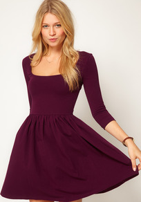Skater Dress With Square Neck - length: mid thigh; pattern: plain; waist detail: fitted waist; predominant colour: purple; occasions: casual, evening; fit: fitted at waist & bust; style: fit & flare; fibres: cotton - stretch; sleeve length: 3/4 length; sleeve style: standard; neckline: low square neck; texture group: jersey - stretchy/drapey
