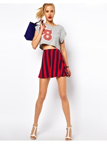 Skater Skirt In Stripe - length: mini; pattern: vertical stripes; fit: loose/voluminous; waist: high rise; predominant colour: true red; occasions: casual, evening; style: a-line; fibres: polyester/polyamide - stretch; trends: striking stripes; pattern type: fabric; pattern size: big &amp; busy; texture group: jersey - stretchy/drapey