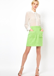 Patch Pocket Skirt In Fleuro Tweed - length: mid thigh; fit: body skimming; hip detail: front pockets at hip; waist: high rise; pattern: herringbone/tweed; predominant colour: lime; occasions: casual, evening, work; style: a-line; fibres: cotton - mix; waist detail: narrow waistband; trends: fluorescent; pattern type: fabric; pattern size: small & busy; texture group: other - light to midweight