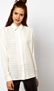 Shirt With Broderie Panel - neckline: shirt collar/peter pan/zip with opening; style: shirt; predominant colour: white; occasions: casual, work; length: standard; fibres: cotton - 100%; fit: straight cut; sleeve length: long sleeve; sleeve style: standard; texture group: lace; pattern type: fabric