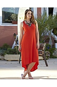 Plain High Low Hem Maxi Dress - length: below the knee; pattern: plain; sleeve style: sleeveless; predominant colour: bright orange; occasions: casual, holiday; fit: body skimming; style: asymmetric (hem); neckline: scoop; fibres: polyester/polyamide - mix; sleeve length: sleeveless; pattern type: fabric; texture group: jersey - stretchy/drapey
