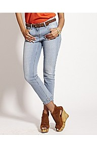 Back Zip Crop Skinny Jeans - style: skinny leg; pattern: plain; pocket detail: traditional 5 pocket; waist: mid/regular rise; predominant colour: pale blue; occasions: casual; length: ankle length; fibres: cotton - stretch; jeans detail: washed/faded; texture group: denim; pattern type: fabric