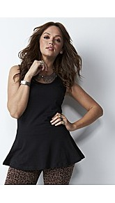 Plain Peplum Top Length 29inches - pattern: plain; sleeve style: sleeveless; waist detail: peplum waist detail; predominant colour: black; occasions: casual, evening, work; length: standard; style: top; fibres: cotton - mix; fit: tailored/fitted; neckline: crew; sleeve length: sleeveless; pattern type: fabric; pattern size: standard; texture group: jersey - stretchy/drapey