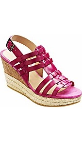Jeffrey &amp; Paula T Bar Wedge Sandals D Fit - predominant colour: hot pink; occasions: casual, evening, holiday; material: leather; heel height: high; embellishment: buckles; ankle detail: ankle strap; heel: wedge; toe: open toe/peeptoe; style: strappy; finish: plain; pattern: plain