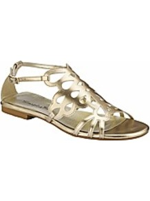 Flat Sandals Eee Fit - predominant colour: gold; occasions: casual, holiday; material: faux leather; heel height: flat; embellishment: buckles; ankle detail: ankle strap; heel: standard; toe: open toe/peeptoe; style: gladiators; trends: metallics; finish: metallic; pattern: plain