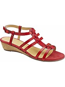 Emotion Gladiator Low Wedge Sandals E Fit - predominant colour: true red; occasions: casual, evening, work, holiday; material: leather; heel height: mid; embellishment: buckles; ankle detail: ankle strap; heel: wedge; toe: open toe/peeptoe; style: strappy; finish: plain; pattern: plain