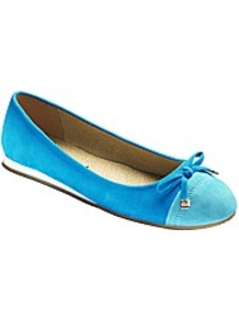 Toe Cap Ballerina Pumps E Fit - predominant colour: diva blue; occasions: casual, evening, work, holiday; material: fabric; heel height: flat; toe: round toe; style: ballerinas / pumps; finish: plain; pattern: colourblock; embellishment: bow