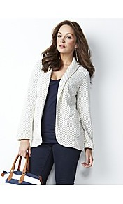 Petite Spot Print Jersey Blazer - style: single breasted blazer; hip detail: front pockets at hip; pattern: polka dot; collar: standard lapel/rever collar; predominant colour: ivory; occasions: casual, work; length: standard; fit: tailored/fitted; fibres: cotton - 100%; waist detail: fitted waist; sleeve length: long sleeve; sleeve style: standard; texture group: cotton feel fabrics; collar break: low/open; pattern type: fabric; pattern size: small &amp; busy