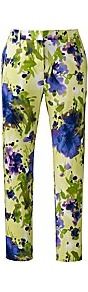 Cropped Floral Print Trousers - length: standard; waist: mid/regular rise; predominant colour: lime; occasions: casual, evening; fibres: cotton - stretch; texture group: cotton feel fabrics; trends: high impact florals; fit: slim leg; pattern type: fabric; pattern size: big & busy; pattern: florals; style: standard