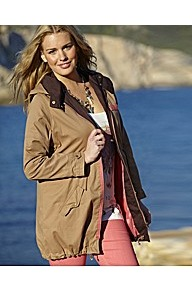 Parka Jacket With Contrast Trim And Lining - pattern: plain; length: below the bottom; fit: loose; style: parka; back detail: hood; collar: high neck; predominant colour: khaki; occasions: casual; fibres: cotton - 100%; waist detail: belted waist/tie at waist/drawstring; sleeve length: long sleeve; sleeve style: standard; texture group: cotton feel fabrics; collar break: high; pattern type: fabric; pattern size: standard