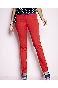 Simply Wow Coloured Slim Leg Jeans Length 30in - length: standard; pattern: plain; pocket detail: traditional 5 pocket; style: slim leg; waist: mid/regular rise; predominant colour: true red; occasions: casual, evening, holiday; fibres: cotton - stretch; texture group: denim; pattern type: fabric