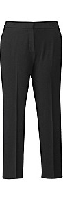 Magifit Black Ankle Length Trousers - pattern: plain; pocket detail: small back pockets; waist: mid/regular rise; predominant colour: black; occasions: evening, work; length: ankle length; fibres: cotton - stretch; hip detail: fitted at hip (bottoms); waist detail: narrow waistband; texture group: cotton feel fabrics; fit: straight leg; pattern type: fabric; pattern size: standard; style: standard