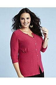 Glamorosa Cropped Cardigan Dual Bust Fitting E K - neckline: round neck; pattern: plain; predominant colour: hot pink; occasions: casual, work; length: standard; style: standard; fibres: cotton - 100%; fit: standard fit; sleeve length: 3/4 length; sleeve style: standard; texture group: knits/crochet; pattern type: knitted - fine stitch