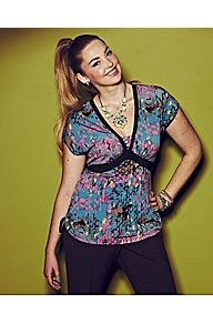 Anna Scholz Print Top - neckline: low v-neck; sleeve style: capped; occasions: casual, evening, holiday; length: standard; style: top; fibres: polyester/polyamide - stretch; fit: body skimming; predominant colour: multicoloured; sleeve length: short sleeve; pattern type: fabric; pattern size: big & busy; pattern: patterned/print; texture group: jersey - stretchy/drapey