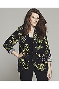 Bespoke Brooke Floral Belted Soft Jacket - style: single breasted blazer; collar: shawl/waterfall; fit: loose; secondary colour: lime; predominant colour: black; occasions: casual, evening; length: standard; fibres: polyester/polyamide - 100%; sleeve length: 3/4 length; sleeve style: standard; collar break: low/open; pattern type: fabric; pattern size: big & busy; pattern: florals; texture group: other - light to midweight