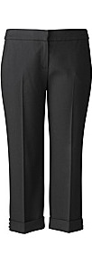 Bespoke Bridgette Button Trim Crop Trousers - pattern: plain; waist: mid/regular rise; predominant colour: black; occasions: casual, evening, work, holiday; length: calf length; fibres: polyester/polyamide - stretch; texture group: cotton feel fabrics; fit: straight leg; pattern type: fabric; style: standard