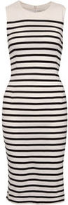 Amusa Stripey Jersey Shift Dress - style: shift; length: below the knee; neckline: round neck; fit: tailored/fitted; pattern: horizontal stripes; sleeve style: sleeveless; waist detail: fitted waist; hip detail: fitted at hip; shoulder detail: contrast pattern/fabric at shoulder; predominant colour: white; occasions: casual, evening, work, holiday; fibres: cotton - 100%; bust detail: contrast pattern/fabric/detail at bust; sleeve length: sleeveless; texture group: jersey - clingy; trends: glamorous day shifts; pattern type: fabric; pattern size: standard