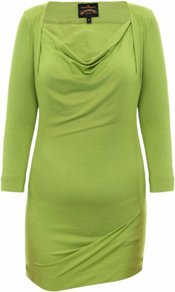 Green Dahlia Top - neckline: cowl/draped neck; pattern: plain; waist detail: fitted waist; length: below the bottom; bust detail: ruching/gathering/draping/layers/pintuck pleats at bust; predominant colour: lime; occasions: casual, evening, work; style: top; fibres: polyester/polyamide - stretch; fit: body skimming; sleeve length: 3/4 length; sleeve style: standard; pattern type: fabric; pattern size: standard; texture group: jersey - stretchy/drapey