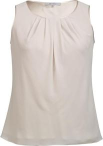 Champagne Satin Trim Tuck Detail Camisole - neckline: round neck; pattern: plain; sleeve style: sleeveless; predominant colour: champagne; occasions: evening, work; length: standard; style: top; fibres: polyester/polyamide - 100%; fit: straight cut; sleeve length: sleeveless; texture group: crepes; bust detail: tiers/frills/bulky drapes/pleats; pattern type: fabric; pattern size: standard