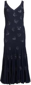 Navy Butterfly Beaded Dress - neckline: v-neck; sleeve style: sleeveless; style: maxi dress; bust detail: added detail/embellishment at bust; hip detail: fitted at hip; predominant colour: navy; occasions: evening, occasion; length: floor length; fit: body skimming; fibres: polyester/polyamide - 100%; sleeve length: sleeveless; pattern type: fabric; pattern size: small & light; texture group: other - light to midweight; embellishment: beading