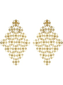 Isabel Earrings - predominant colour: gold; occasions: evening, occasion; style: drop; length: mid; size: large/oversized; material: chain/metal; fastening: pierced; finish: metallic; embellishment: pearls