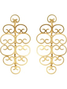 Mercedes Earrings - predominant colour: gold; occasions: evening, work, occasion; style: drop; length: long; size: large/oversized; material: chain/metal; fastening: pierced; trends: metallics; finish: metallic