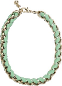 Leather And Chain Necklace - predominant colour: pistachio; secondary colour: gold; occasions: casual, evening, occasion; style: standard; length: mid; size: large/oversized; material: leather; finish: plain; embellishment: chain/metal