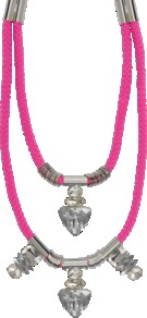 Neon Pink Necklace - predominant colour: hot pink; secondary colour: silver; occasions: casual, evening, occasion, holiday; style: multistrand; length: mid; size: standard; material: chain/metal; finish: plain; embellishment: chain/metal