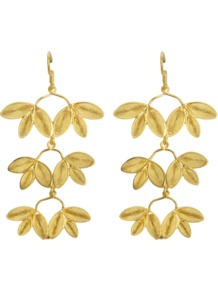 Gloria Earrings - predominant colour: gold; occasions: evening, occasion; style: drop; length: long; size: standard; material: chain/metal; fastening: pierced; finish: metallic
