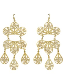 Allison Earrings - predominant colour: gold; occasions: evening, occasion, holiday; style: chandelier; length: long; size: large/oversized; material: chain/metal; fastening: pierced; finish: metallic; embellishment: chain/metal