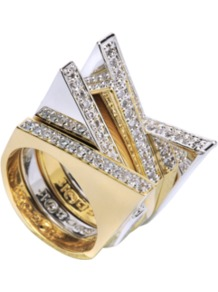 Metalic Ring With Crystals - predominant colour: gold; occasions: evening, occasion; style: cocktail; size: large/oversized; material: chain/metal; finish: metallic; embellishment: crystals