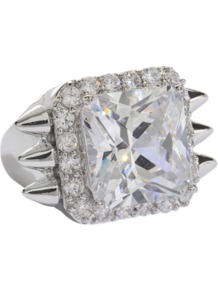 Silver Studded Ring - predominant colour: silver; occasions: evening, occasion; style: cocktail; size: large/oversized; material: chain/metal; trends: metallics; finish: metallic; embellishment: crystals