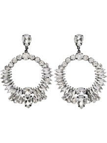 Crystal Earrings - predominant colour: silver; occasions: evening, occasion; style: drop; length: mid; size: standard; material: chain/metal; fastening: pierced; trends: metallics; finish: metallic; embellishment: crystals